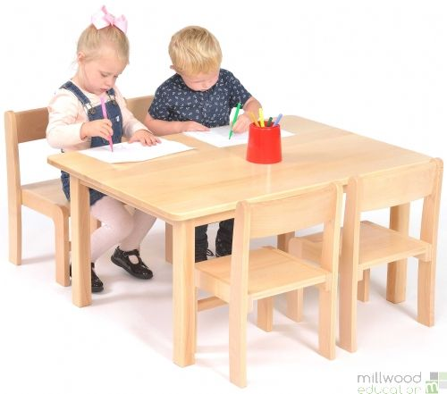Beech Rectangular Table 40cm H with 4 Chairs