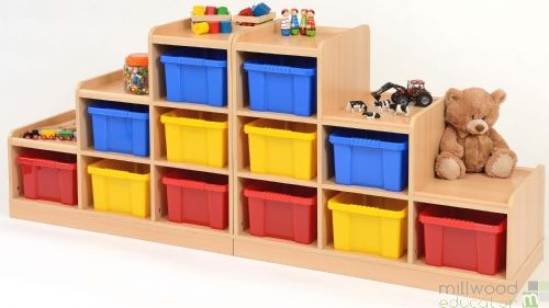 Left-Hand and Right-Hand Tiered Units with Coloured Trays