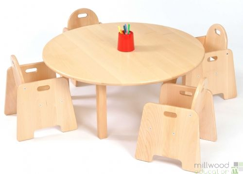 Beech Circular Table 30cmH with 4 Infant Chairs