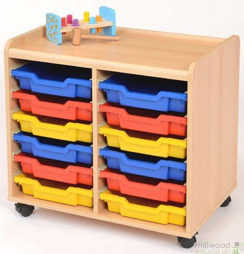 TSS Storage Unit with 12 Shallow Coloured Trays