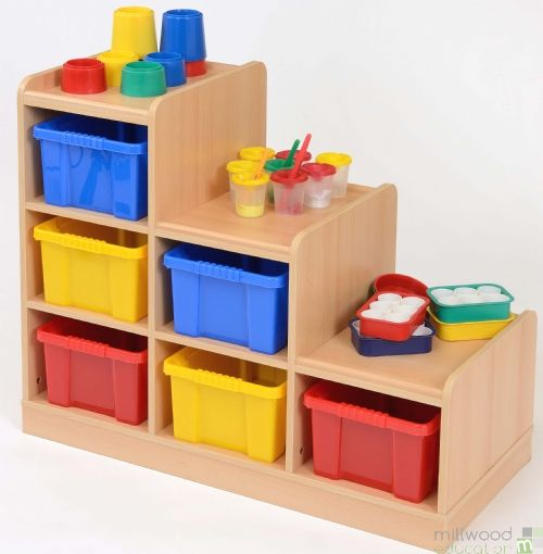 Right-Hand Tiered Unit with 6 Coloured Trays