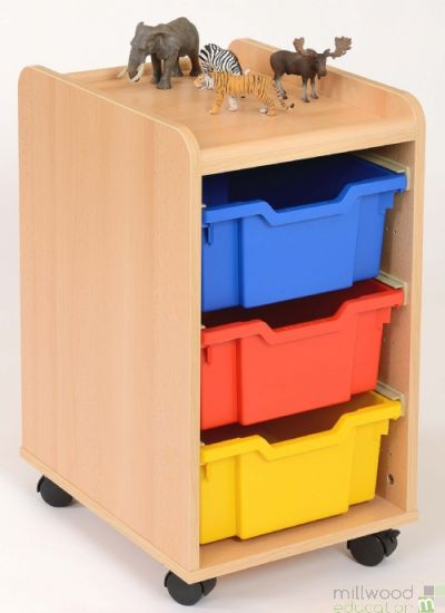 TSS Storage Unit with 3 Deep Coloured Trays