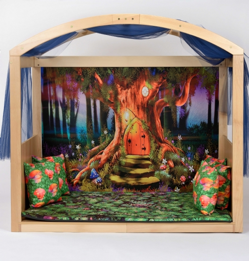 A Millwood Edcuation forest grotto themed stage setter