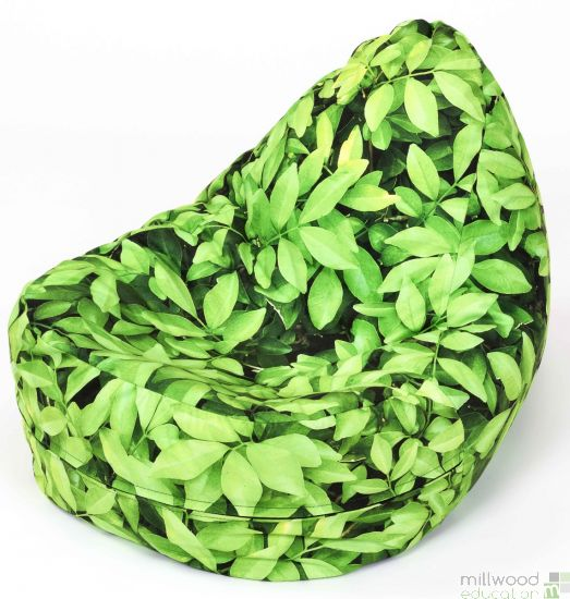 A child's bean bag decorated with a leaf motif.