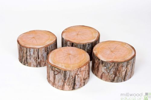 Log shaped seating pouffes.